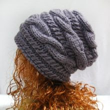 Knitting Pattern Hat Slouchy, PDF Knit Hat Pattern, winter hat pattern