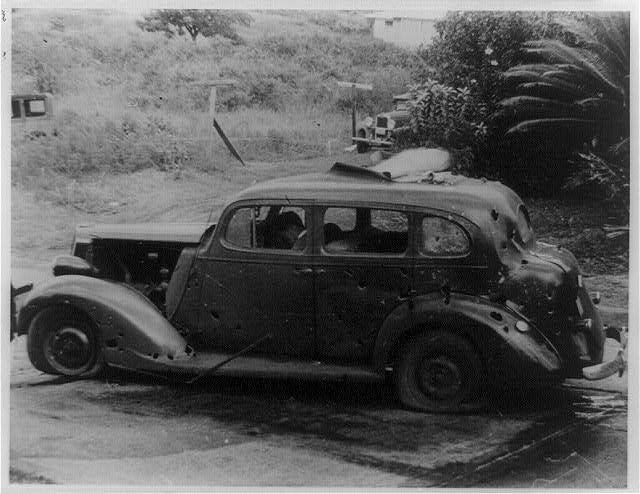 Three civilians were killed in this shrapnel-riddled car by a bomb dropped from a Japanese plane eight miles from Pearl Harbor. (Photo: Library of Congress Prints and Photographs)