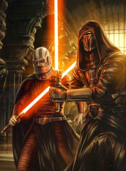 Darth Revan (right) and his Sith Apprentice, Darth Malak.