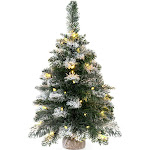 """Best Choice Products Pre-Lit Snow Flocked Tabletop Christmas Tree Decor with 30-LED Lights Battery Pack Timer, Green, 24"""""""