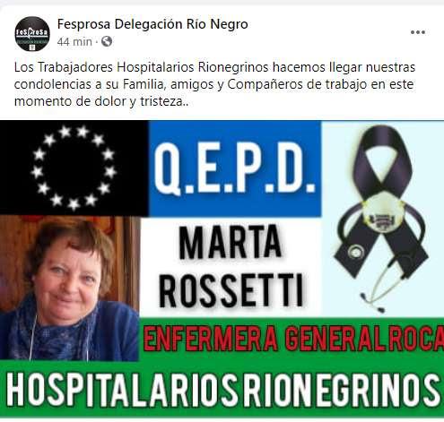 Dolor por la muerte de una enfermera jubilada a causa del covid-19