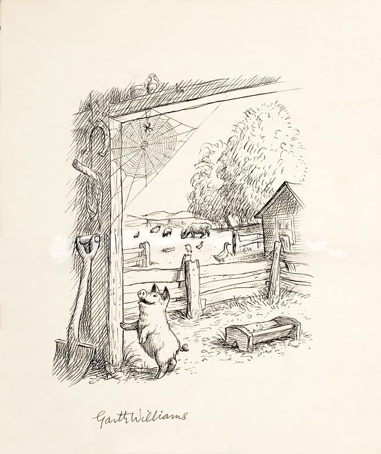 ink drawing of happy pig jumping against barn with spider and web above