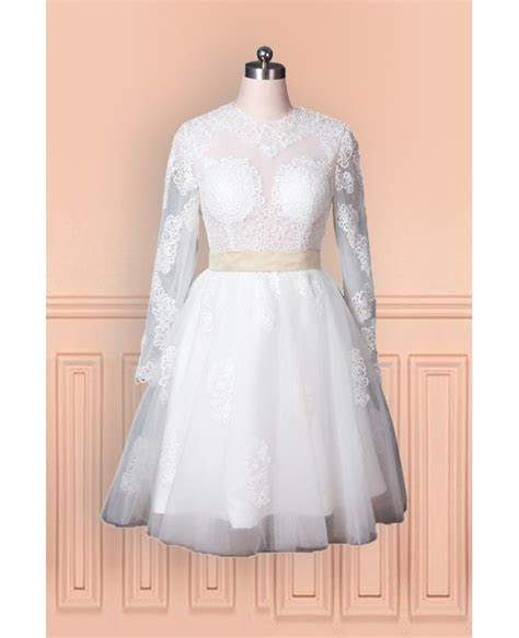 Vintage Lace Tulle Wedding Dress With Long Sleeves In Knee