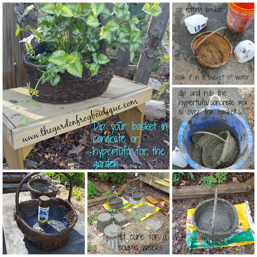 Dip your wicker basket in hypertufa concrete for the garden » The Garden Frog Boutique