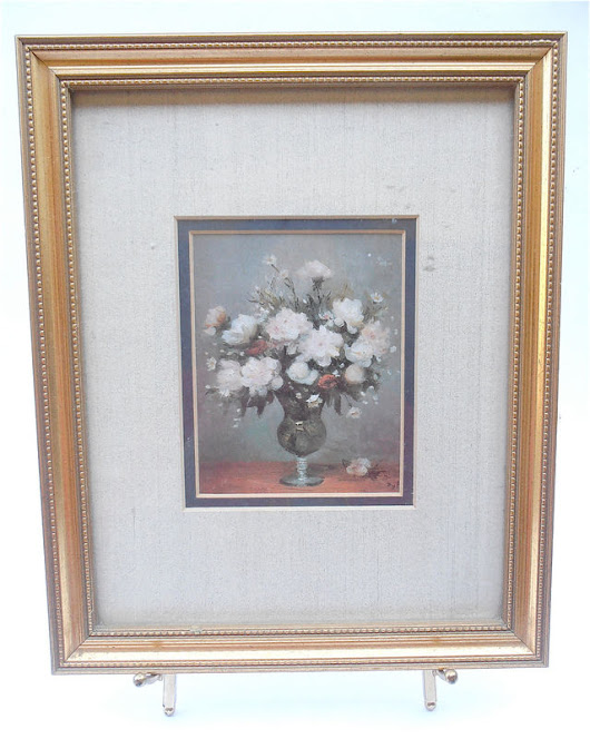Vintage Floral Print Flower Picture Bronze Matted Picture Frame Flower Print Framed Picture Gold Paint Wood Frame Country Home Rustic Decor