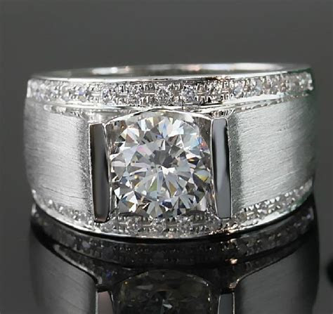1 Carat Classic Real Solid 18K White Gold Man Ring Diamond