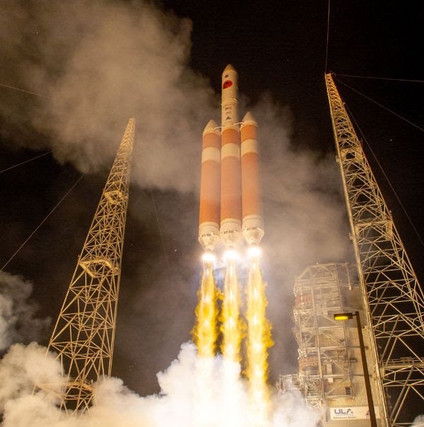 A Delta IV Heavy rocket carrying NASA's Parker Solar Probe launches from Cape Canaveral Air Force Station in Florida...on August 12, 2018.