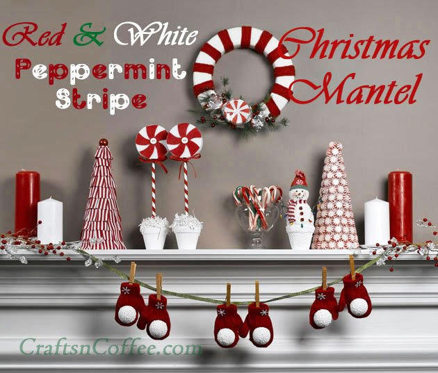 Mantel Decorated in Red and White with a Peppermint Theme