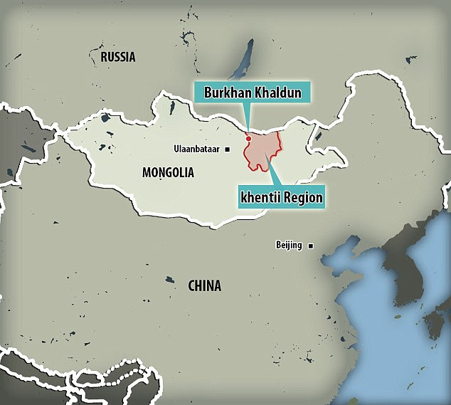 Genghis Khan is thought to be buried in the legendary Valley of the Khans near to Burkhan Khaldun mountain