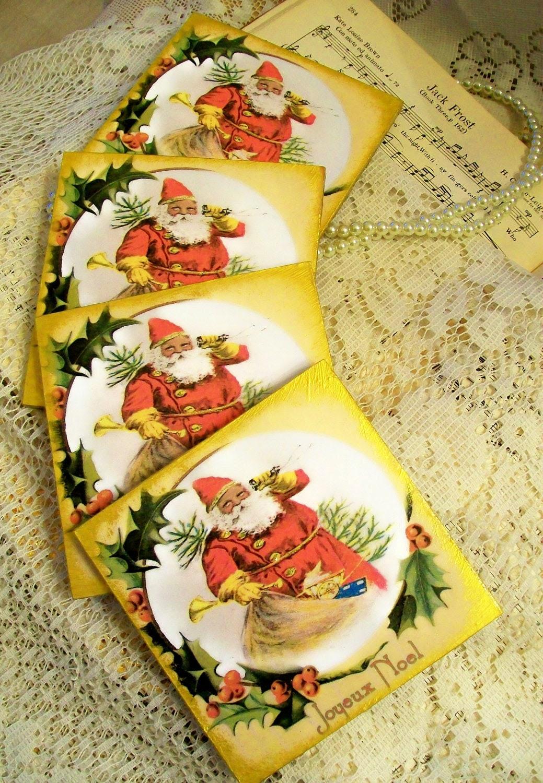 African American Art Coaster Set of 4 Christmas Coasters Vintage Santa Holiday Favors