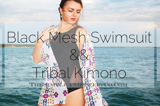 Black Mesh Bathing Suit && Tribal Kimono