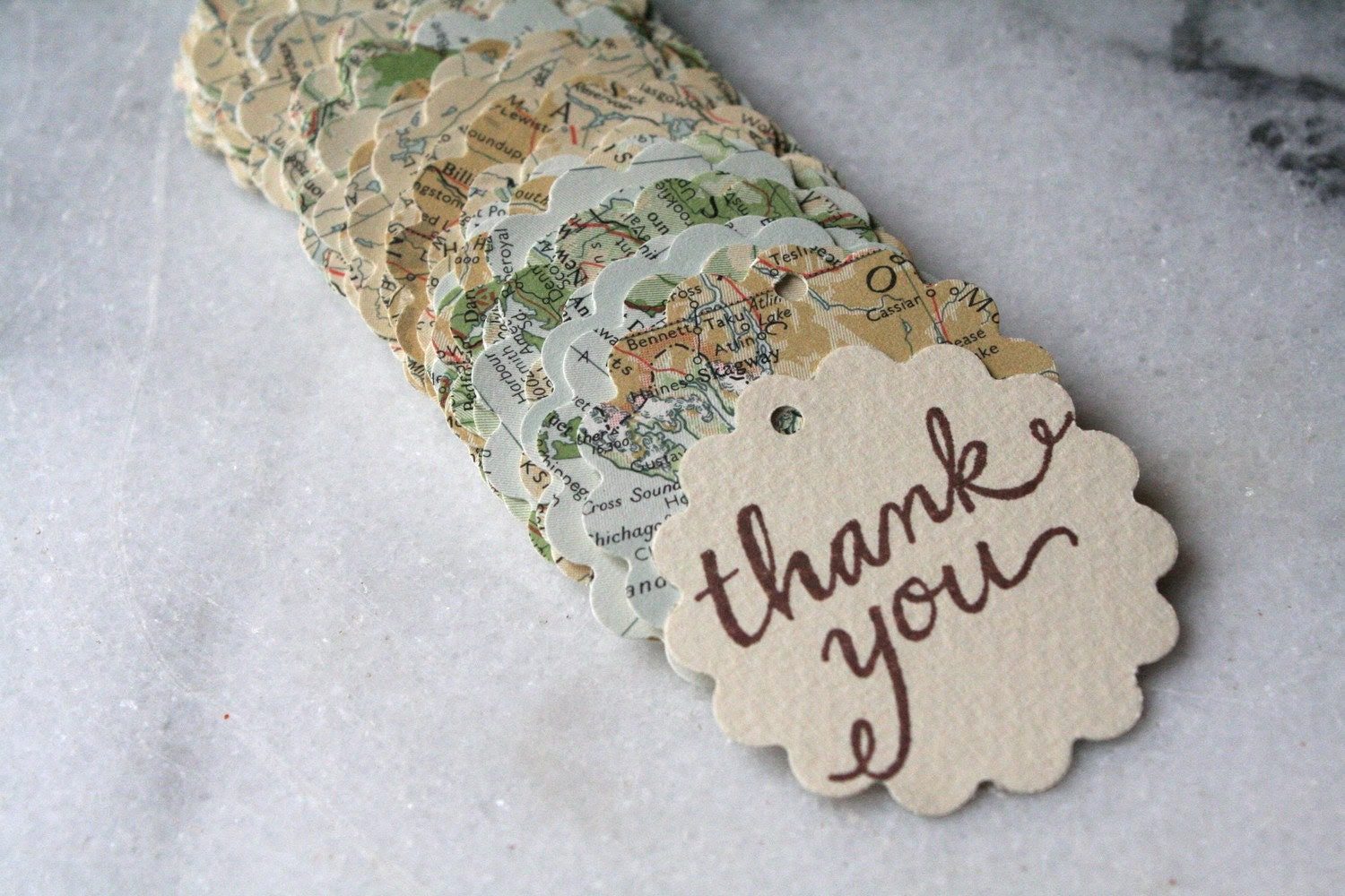 Travel themed map thank you cards