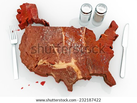 United Steaks Of America: An Illustration Related To The Enormous Consumption Of Steak And Red Meats In The United States. The Great American Barbecue! - 232187422 : Shutterstock