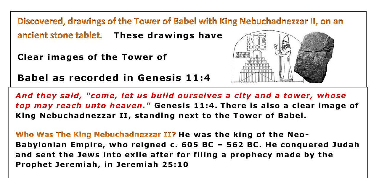 Discovered, drawings of the Tower of Babel with King Nebuchadnezzar II, on an ancient stone tablet.
