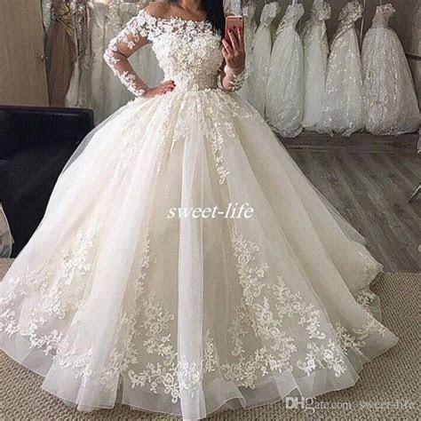 Elegant Long Sleeve Wedding Dresses 2017 White Puffy Tulle