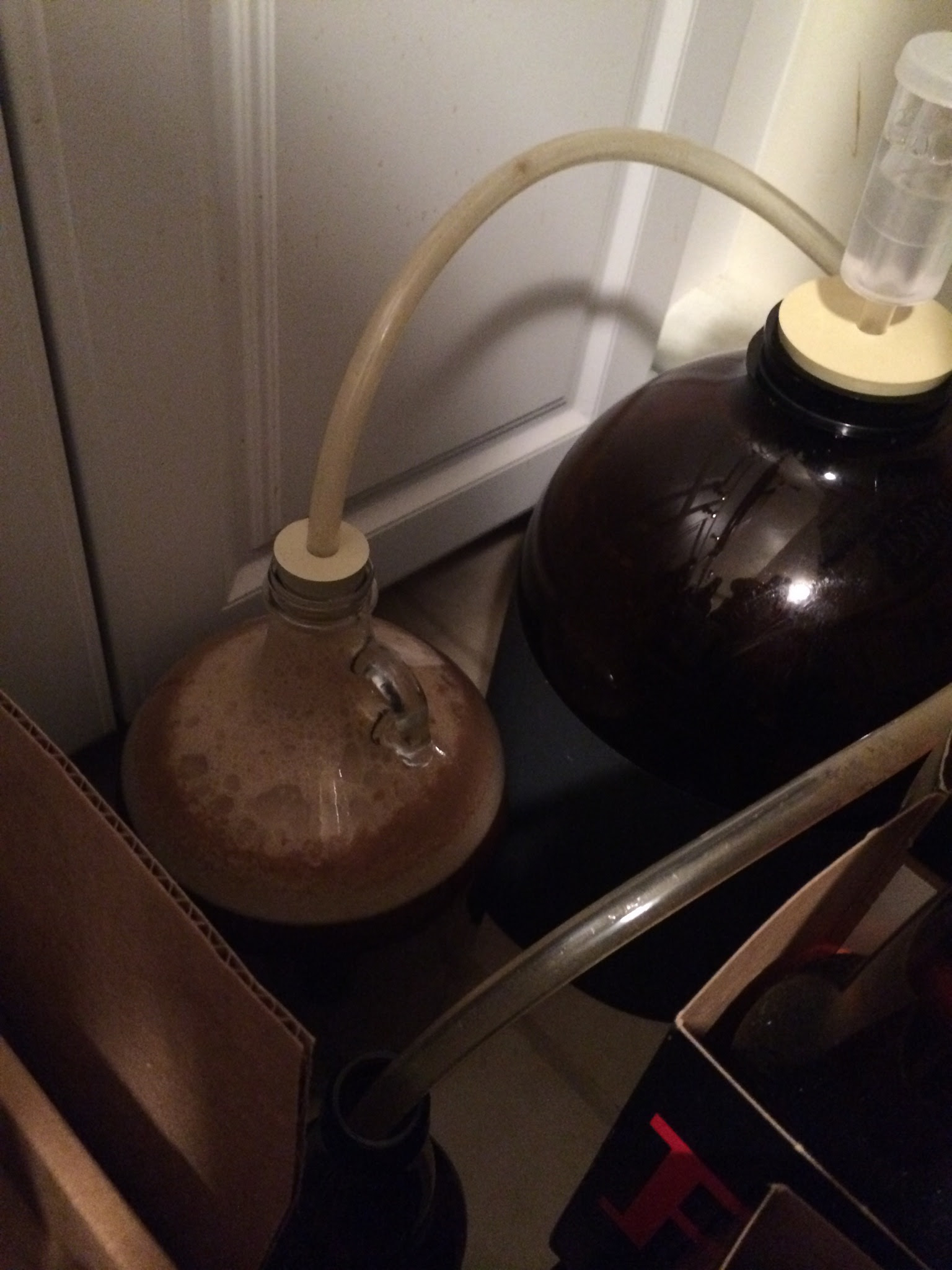 With a one gallon batch you can ferment in a one gallon growler. I used a blow-off tube to compensate for the lack of head space.