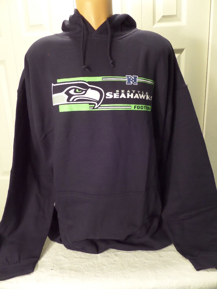 4111 Mens NFL Apparel SEATTLE SEAHAWKS Hooded Hoodie Jersey SWEATSHIRT BLUE NEW eBay