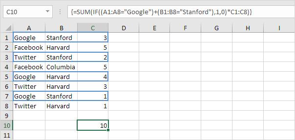 Sum with Or Criteria, Step 3