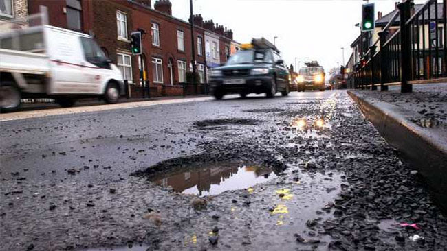 potholes in the street