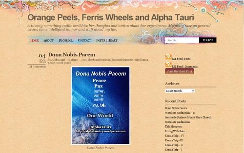 Orange Peels Ferris Wheels and Alpha Tauri