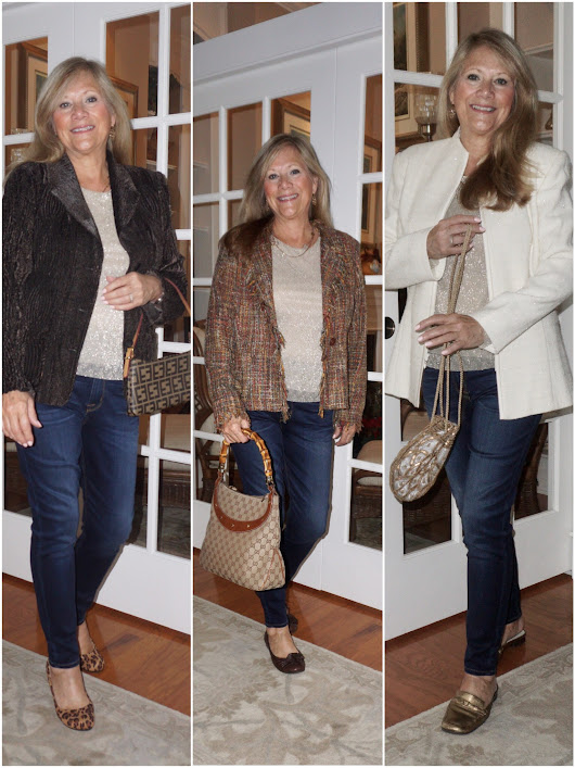 Trio of Holiday Outfits Featuring Denim Jeans - Distinctly Southern Style