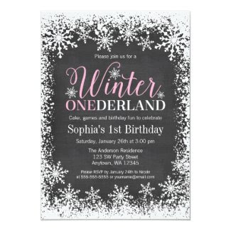 Winter ONEderland Snow Chalkboard 1st Birthday Card