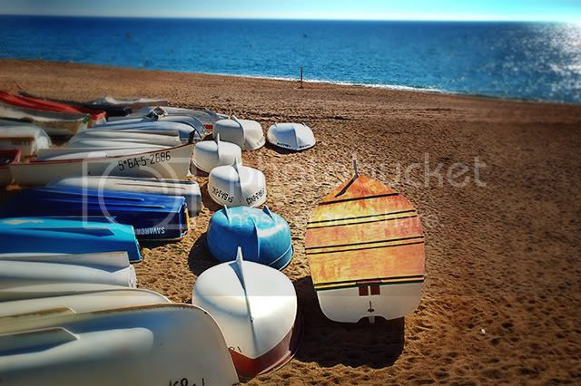 Boats on Sant Pol de Mar Beach Near Barcelona, Spain [enlarge]
