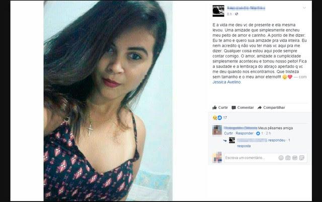 Amigos usaram as redes sociais para lamentar a morte da jovem (Foto: Reprodução/Facebook