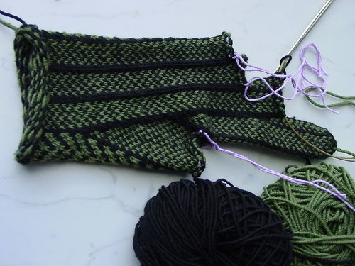 Herringbone gloves in progress, palm side