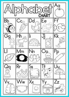 FREE B&W English Alphabet Chart - have kids color the pictures and ...