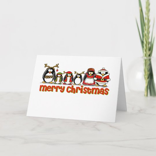 Merry Christmas Penguins Holiday Card