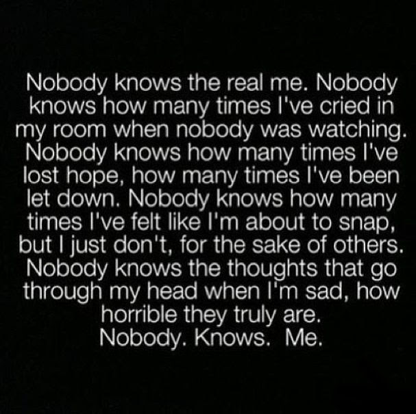 Nobody Knows The Real Me Pictures Photos And Images For Facebook