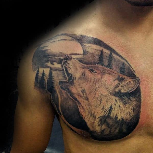 Wolf Tattoo On Chest