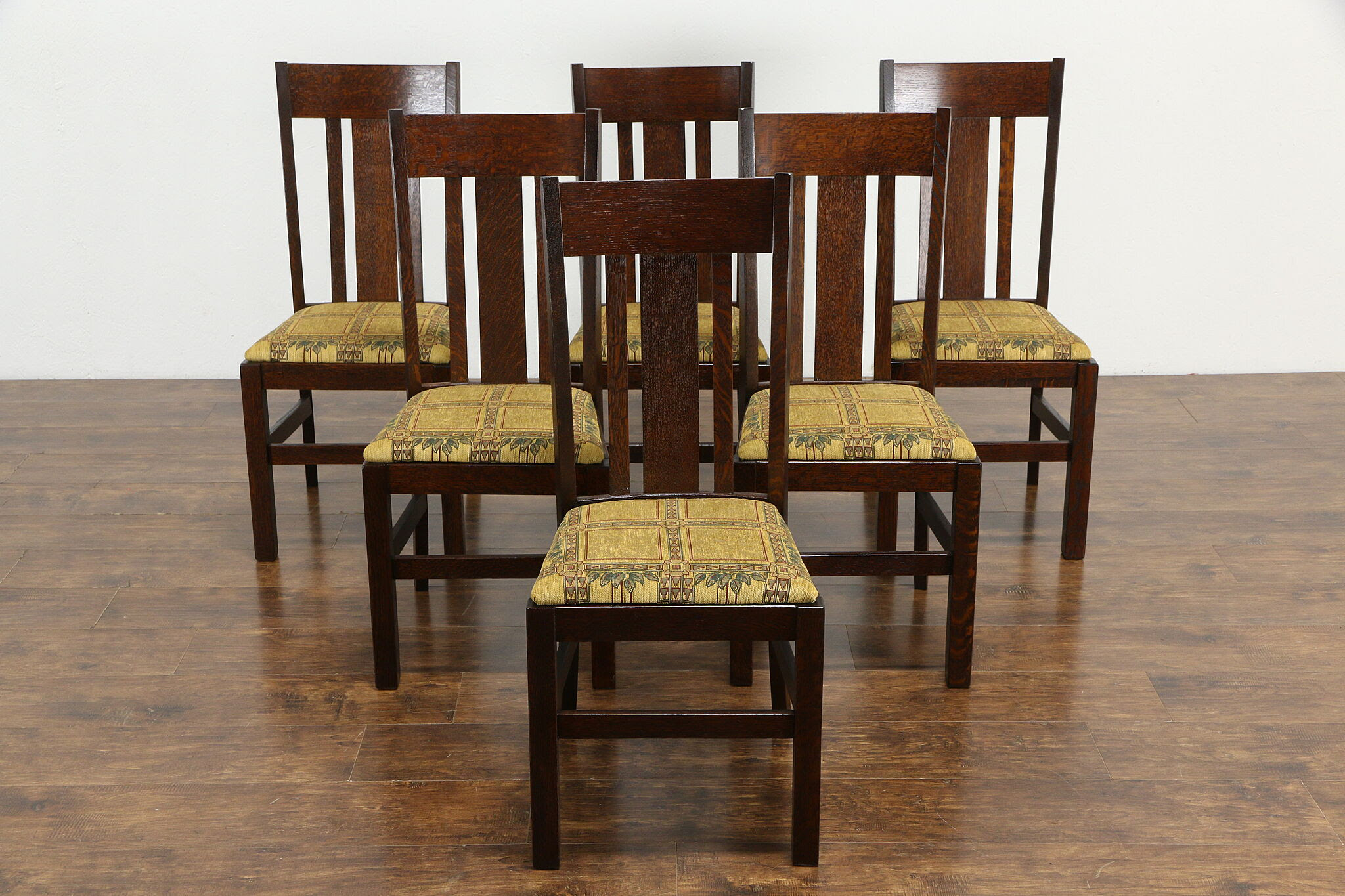 Craftsman Set Of 6 Mission Oak Arts Crafts Dining Chairs Wisconsin 35632 Harp Gallery Antiques Furniture