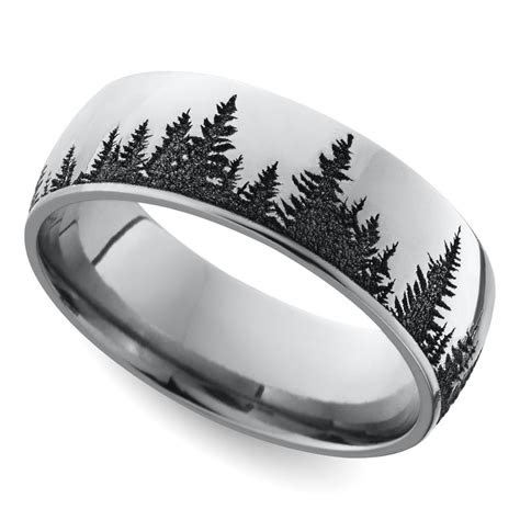 laser carved forest pattern mens wedding ring  cobalt