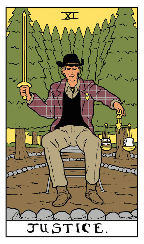 Justice Twin Peaks tarot card