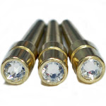 WE Games Brass Cribbage Pegs with Swarovski Austrian Crystals - Set of 3 - Crystal Clear