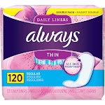 Always Thin Daily Liners, Unscented, Regular - 120 count