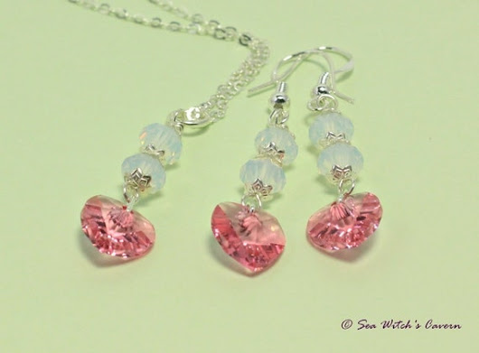 Tourmaline Birthstone Jewellery Set  With Opal by SeaWitchsCavern