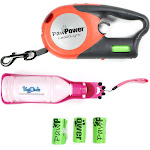 Alta Retractable Dog Leash Light with 4 Pack of Bags, and Pet Water Bottle, Pink
