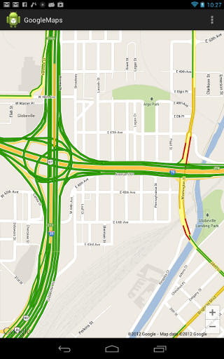 Map with traffic information displayed in Android app