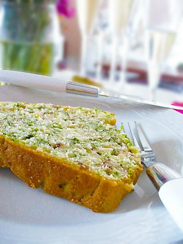 Rocket , pistachio savory cake