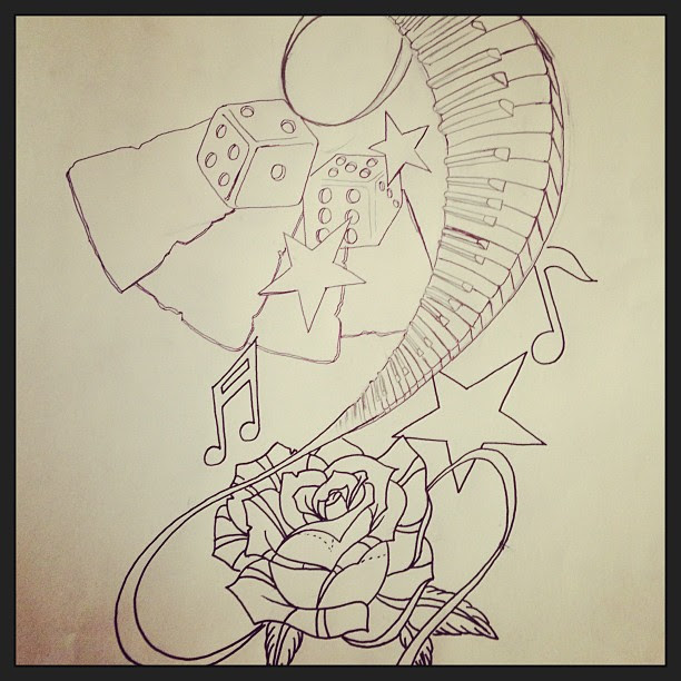 Rose Stars And Piano Keys Outline Tattoo Design