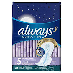 Always Ultra Thin Extra Heavy Overnight Pads with Flexi-Wings, Size 5 - 34 Ct