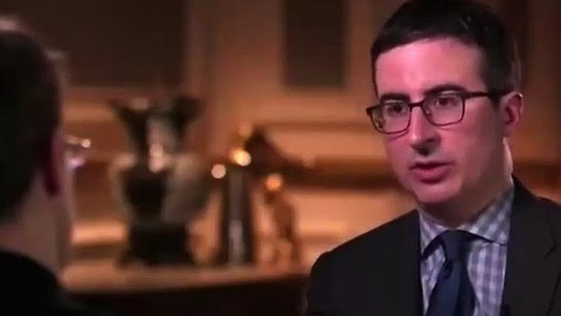 Non-journalist John Oliver showed his interview skills while talking to Edward Snowden.