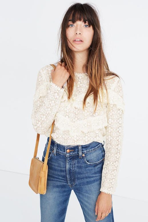 The Best Lace Tops Jeans Modern Romantic French Style Via Sezane For Madewell Le Fashion Blog