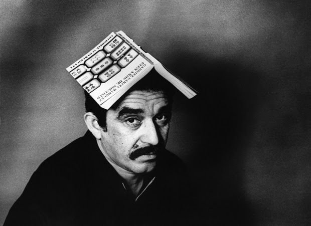 Gabriel García Márquez with a copy of his book One Hundred Years of Solitude, 1975