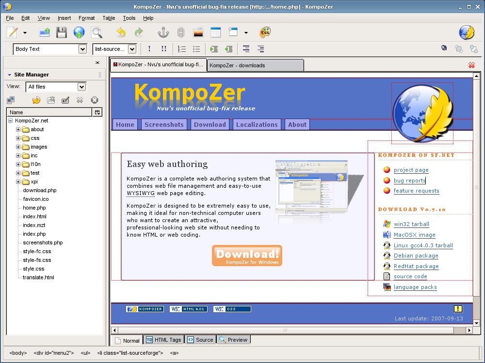 KompoZer Screenshot - Dreamweaver alternative