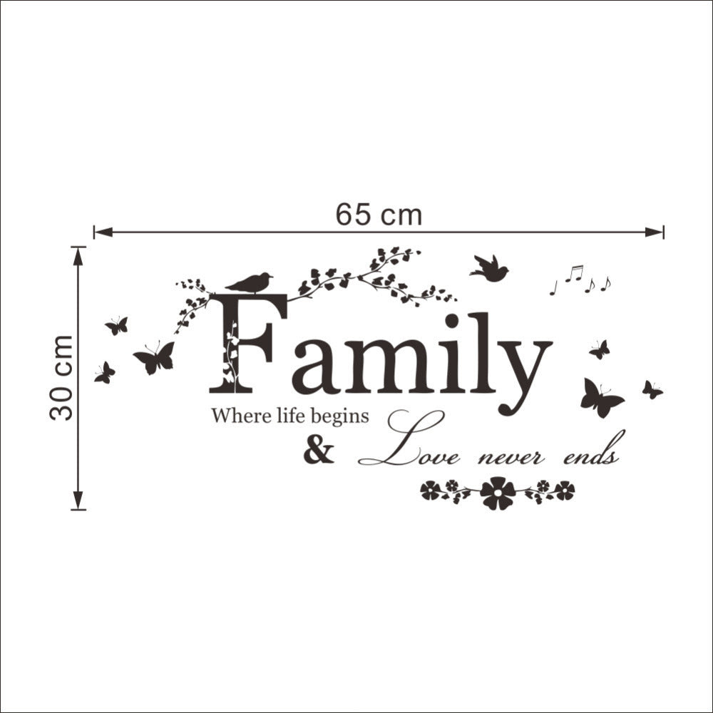 Inspiring Family Quotes Removable Wall Stickers Positivity