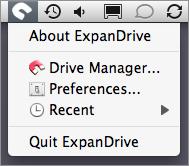 Screenshot of ExpanDrive's system-wide menu.